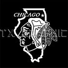 CHICAGO BLACKHAWKS  ILLINOIS STATE MAP DECAL VINYL STICKER  WINDOW  CAR WALL $11.95 USD on eBay
