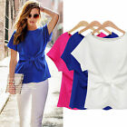 Fashion Women Summer Short Sleeve Tops Chiffon T-Shirt Blouse With Bowknot