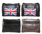 SOFT LEATHER UNION JACK FLAG COIN POUCH WALLET ZIPPER KEYRING PURSE