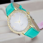 Fashion Women's Diamond Leather Stainless Steel Quartz Wrist Watch For Girl Gift image