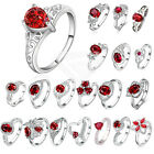 Engagement Ruby Rings Size 8-10 Women's 925 Silver Plated Wedding Jewelry