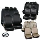 Zone Tech PU Luxury Leather Car Seat Full Set Covers Universal Black Beige Gray