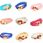 MultiColor Radiant Elephant Rose Stretch Wrap Bracelet Necklace