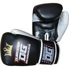BLACK 'RAJA' SYNTHETIC LEATHER MUAY THAI KICKBOXING BOXING GLOVES