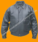Mens Classic Leather Bomber Flight Pilot Biker Motorcycle Jacket Coat Black