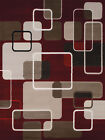Red Cubes Transparent Lines Curved Contemporary Area Rug Abstract 550-32235