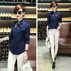 Women's Loose Long Sleeve Denim Casual Blouse Shirt Tops Blouse Fashion H4W1