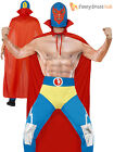Mens Mexican Wrestler Costume Adults Sports Fighter Fancy Dress WWE Outfit