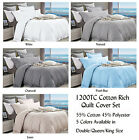 1200TC Cotton Rich Doona Quilt Cover Set Double Queen King Size Colour Choices