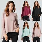 US4-24 Zanzea Women Long Sleeve Chiffon Blouse Shirt T-shirt Plus Blouse Tops