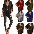 Plus Size Sexy Women V Neck Summer Loose Blouse Batwing Sleeve Shirt Tops Casual