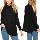 Sexy Womens Sheer Off Shoulder Turn Down Collar Loose Cut Out T shirt Top Blouse