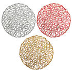 Set of 4 Holiday Decorative Round Woven Metallic Foil Shining Placemats