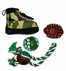 4 Piece Hunter Camouflage Chew Rope Squeak Holiday Pet Dog Toy Toys Gift Set