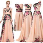 Elegant Floral Chiffon Max/Short Ball Gown Evening Prom Party Masquedare Dress