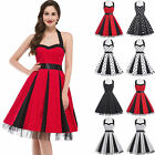 Ladies Knee Length 40s 50s Ball Vintage Halter Polka Dots Party Evening Dress
