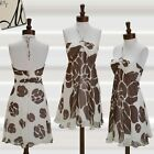 Milly Dress Silk Chiffon Printed Halter Sz 12 Large Floral White Brown Sundress