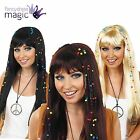 Adults Braided Plaits Beaded Hippy Hippie 1960s 60s Long Wig Fringe Fancy Dress