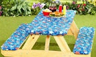 Внешний вид - 3 Piece Fitted Picnic Table & Bench Seat Cover Set Elastic Fit Patio Tablecloth