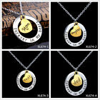 4 PCS Gold Plated Moon Family Pendant Necklace Mom Grandma 'Forever In My Heart'