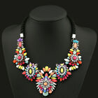 Fashion Women Bib Resin Flower Crystal Pendant Jewelry Chunky Statement Necklace