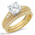 2.32 CT Round Cut Sim Engagement Bridal Ring band set Multi Sterling Silver GP