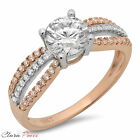 1.3CT Round Cut AAAAA CZ halo Engagement Ring Bridal band White/Rose 925 Silver