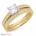 1.35 CT Round Cut AAAAA CZ Engagement Bridal Ring band set Multi 925 Silver