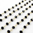 16Ft 5~6mm Black Quartz Sead Beads Wire Wrapped Rosary Beaded Link Chain HJT032