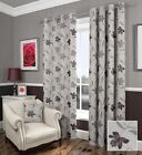FLORAL BLACK LINED EYELET CURTAINS RINGTOP LUXURY JACQUARD FLORENCE