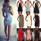 Womens Summer Sleeveless Evening Party Beach Dress Bodycon Mini Dress Plus Size