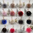 Cute Faux Rabbit Fur Ball Car Keychain Pendant Handbag Charm Keyring Pom