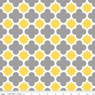 QUATREFOIL  - GREY & YELLOW - RILEY BLAKE 100% COTTON FABRIC