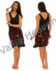 Ladies Viscose Nightie Spanish Style Lace Black Sleeveless Vest Red Pink Floral