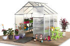 Polycarbonate Greenhouse Grow House with Foundation Door and Vent Woodside