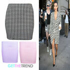 Womens Girls Dogtooth Mini Casual Party Skirt Check Mini Skirt 8 10 12 14