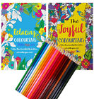 120 Page Adult Anti Stress Therapy Colouring Book + 18 ARTIST PENCILS IN TIN