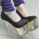 Rivet Spike Women Sexy Shoes Wedding Party Banquet Prom Glitter Lady High Heels