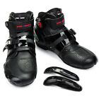 Black Men Motorcycle Boots Sports Racing Biker Rider Leather Shoes Waterproof