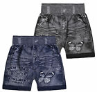 Girls Denim Look Short New Kids Blue Black High Waisted Shorts Ages 3-12 Years