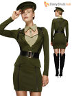 Ladies Fever Sexy Army Captain Military War Soldier Uniform Fancy Dress Costume