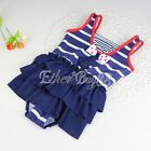 Baby Girls Striped Ruffled One-Piece Swimsuit Toddler Kids Swimwear Bathing Suit