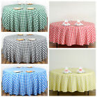 "108"" Checkered Gingham Polyester Round Tablecloth WEDDING PARTY LINENS WHOLESALE"