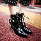 Plus Size Womens Patent Leather Lace up Kitten Heel Pointy Toe Shoes Ankle Boots