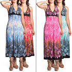 2 Women's Tie-Neck Halter Maxi Dress Full-Length Sundress Tropical Leaf Print