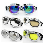 Vintage Dirt Bike Aviator Pilot Style Motorcycle Cruiser Scooter Goggles Chrome