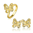 Butterfly Shape Earrings Size 8 Ring Set White Rose Gold Plated