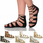 WOMENS LADIES LACE UP CROSS OVER WRAP AROUND STRAPPY GLADIATORS SANDALS SIZE