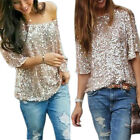 Sexy Women Sequin Sparkle Glitter Tank 3/4 Sleeve Bling Off Shoulder Top T-Shirt