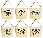 Sun Eye of Horus Beige Print Canvas Tote Bag with Leather Strap WAS 29